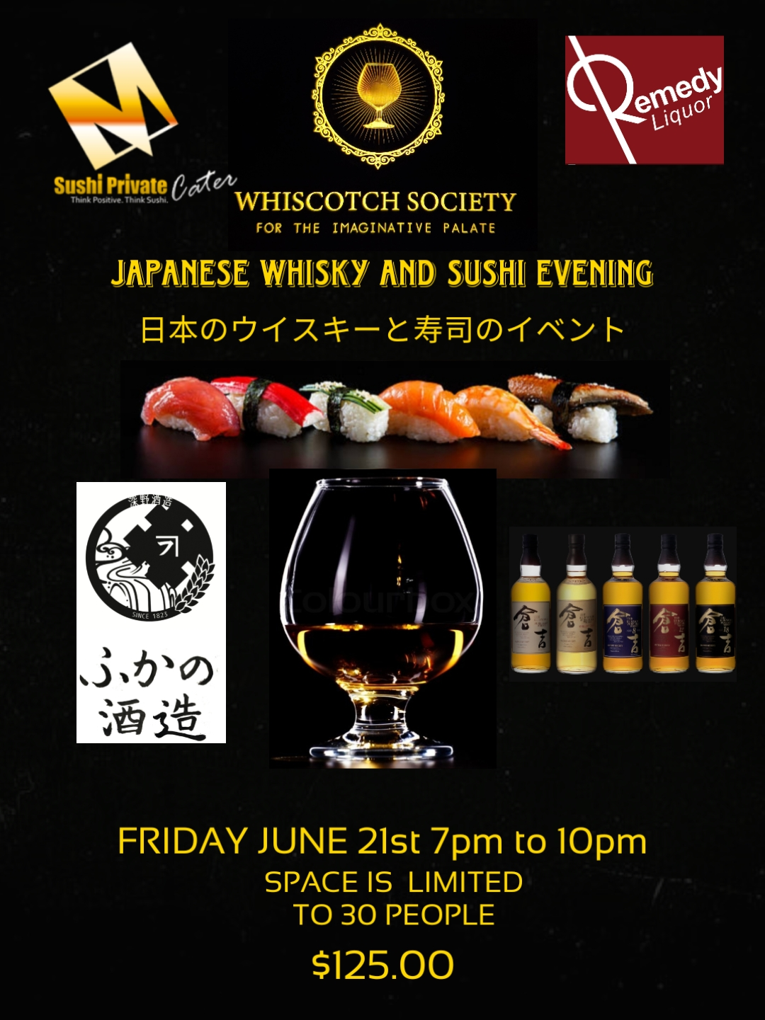 Japanese Whiskey and Sushi Evening.