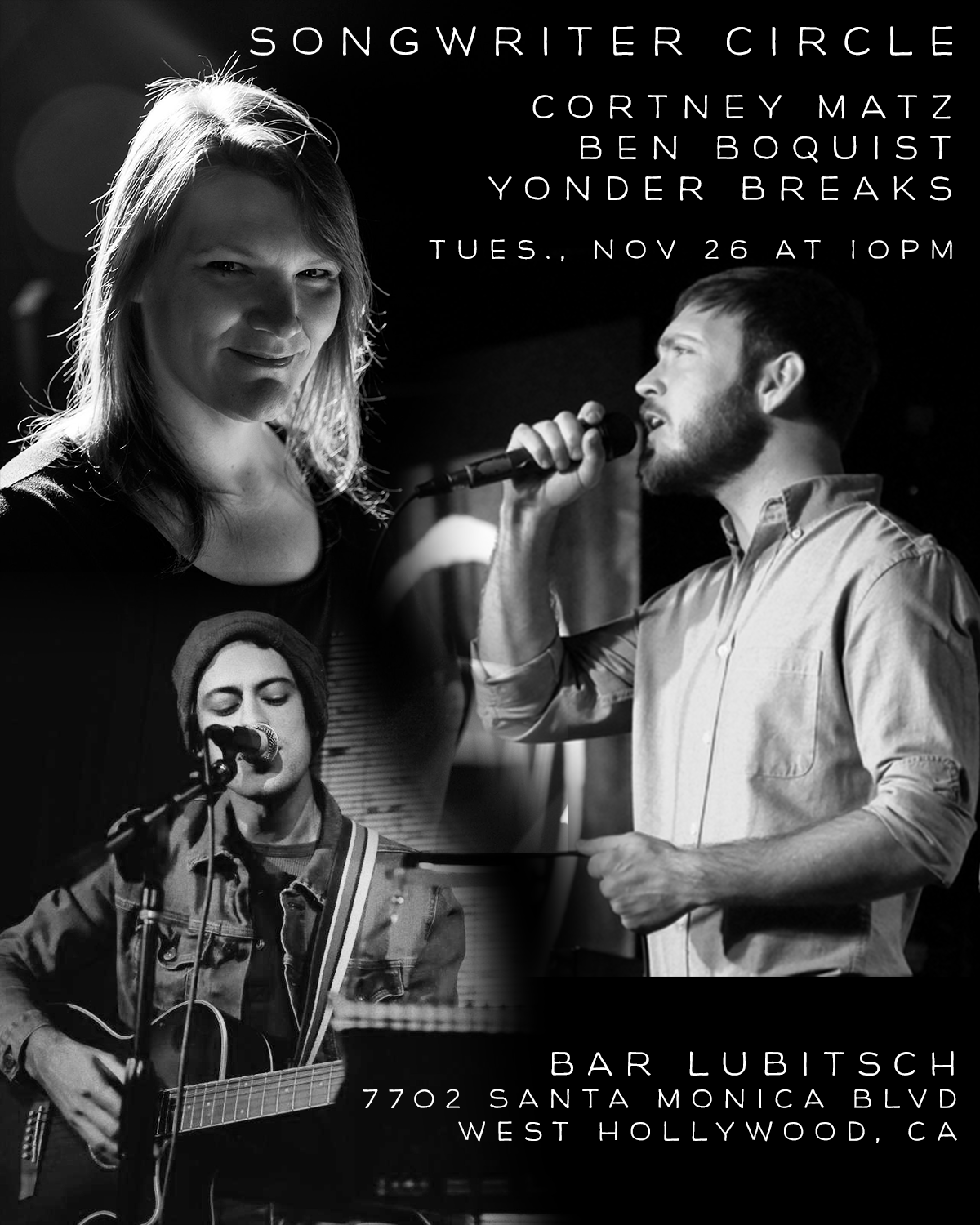 Songwriter Round with Cortney Matz, Ben Boquist and Yonder Breaks